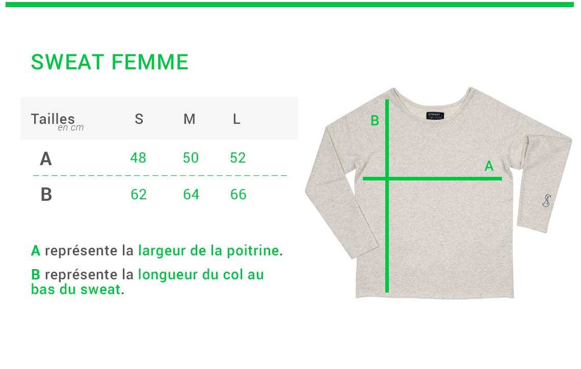 Stepart - Size guide - Woman Sweatshirt