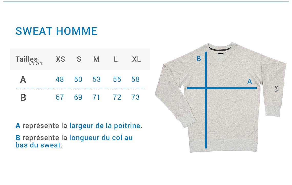 Stepart - Size guide - Man Sweatshirt