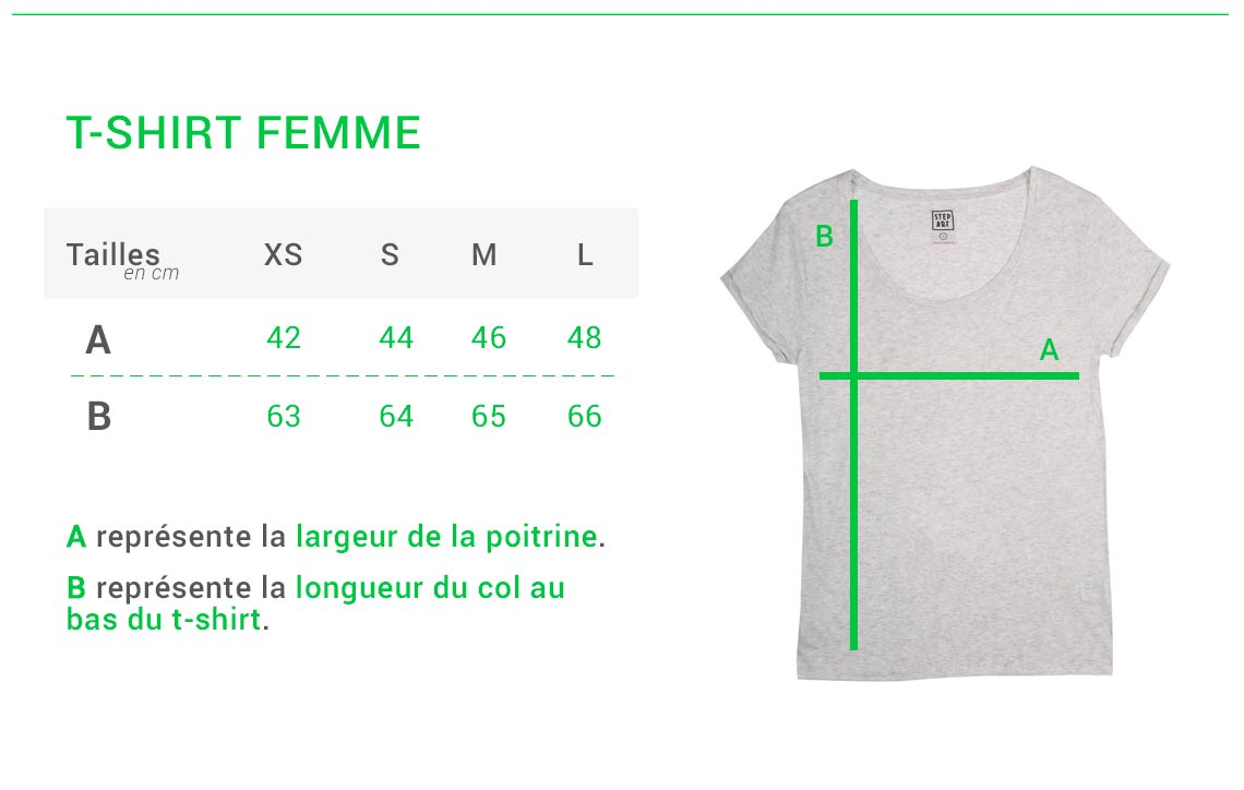 Stepart - Size guide - Woman T-shirt