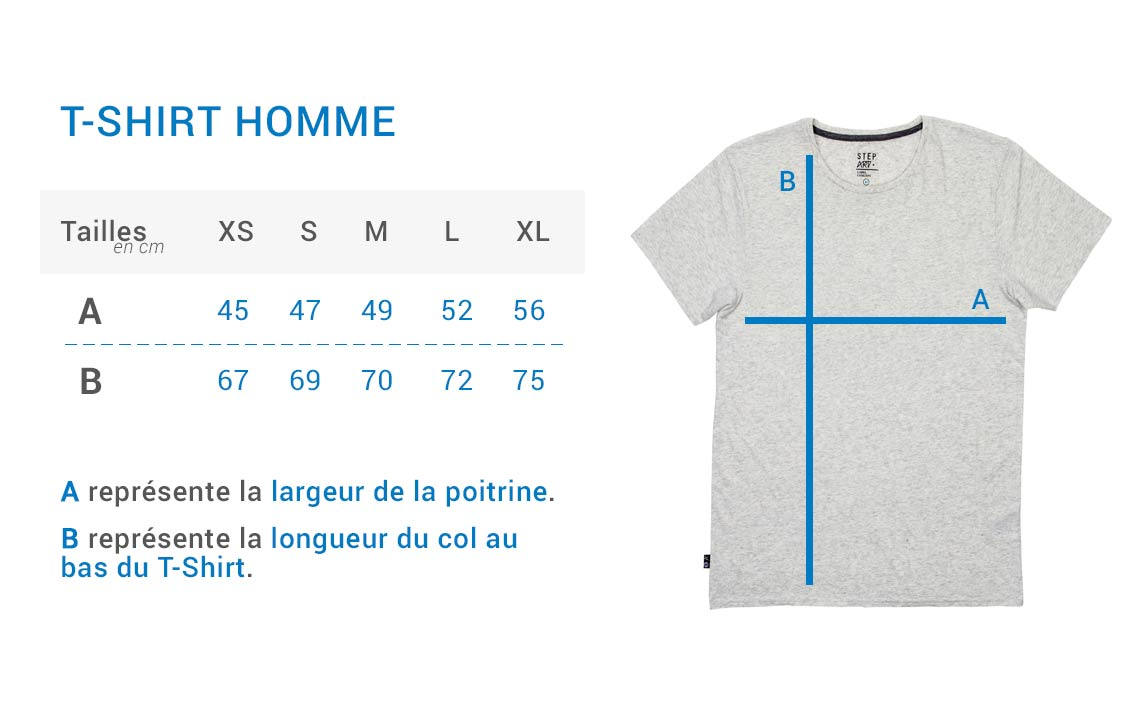 Stepart - Size guide - Man T-shirt
